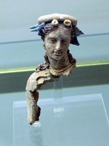 Hellenistic head of a woman from the cemetery of ancient Kydonia in the Archaeological Museum of Chania.