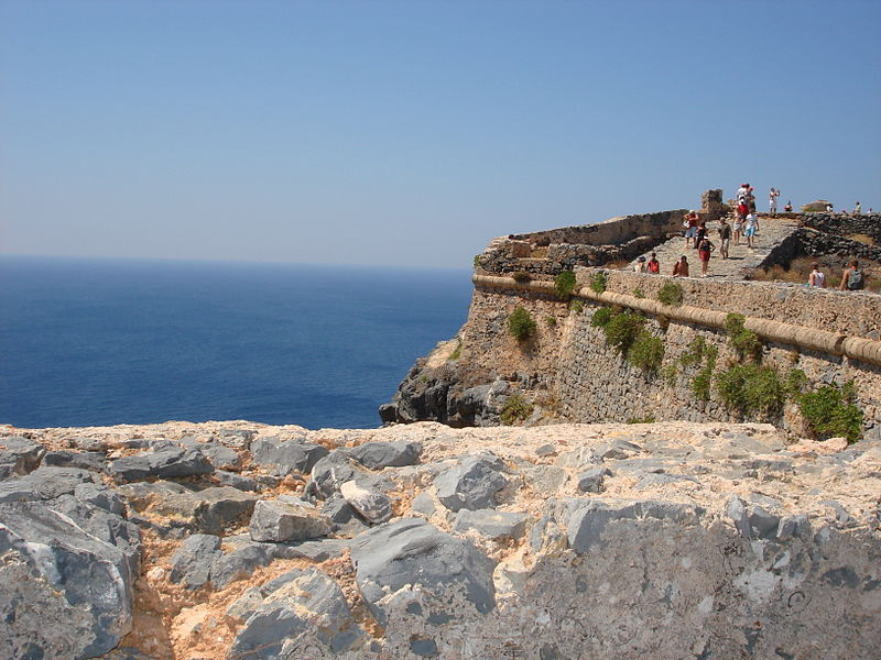 The walls of the fort at Imeri Gramvousa island, Greece