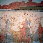 Landscape of spring time - Fresco from the Bronze Age, Akrotiri, Santorini