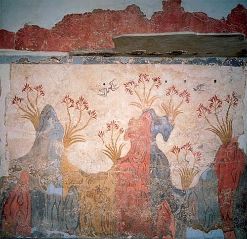 Landscape of spring time - Fresco from the Bronze Age, Akrotiri, Santorini