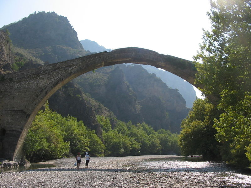 The old bridge in Konitsa over the Aoos river, Epirus