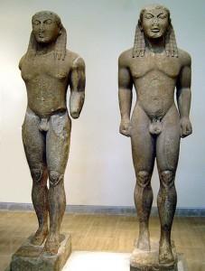 Two Kouroi: Kleobis and Biton, Delphi Museum, Greece