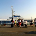 Paxos-Corfu, tourists boarding ship