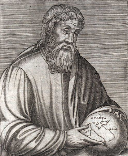 The Greek geographer Strabo in a 16th century engraving