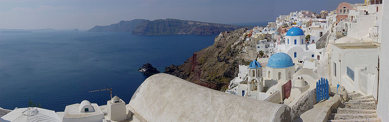 Panoramic view of the Santorini caldera, taken from Oia