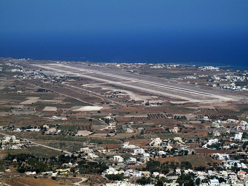 Santorini Airport viewed from Ancient Thera