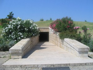 "The entrance to the ""Great Tumulus"" Museum at Vergina"