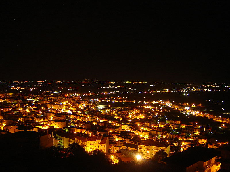 Night view of Veria, Central Macedonia Greece