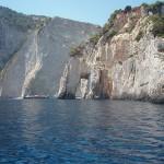 Cliff walled beach and cliff underpass, Marathia cape, Zakynthos, Greece 2001