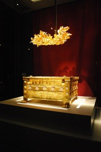 The Golden Larnax and the golden grave crown of Philip II at the Archaeological Museum of Thessaloniki