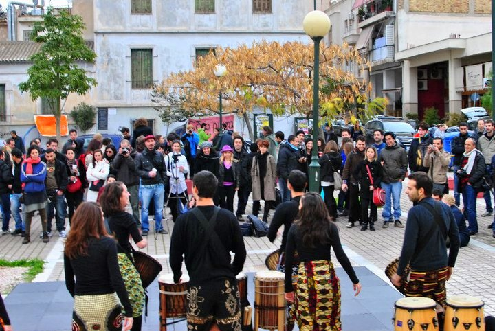 Festivals and impromptu performances draw people to Avdi Square in the heart of Metaxourgeio in Athens