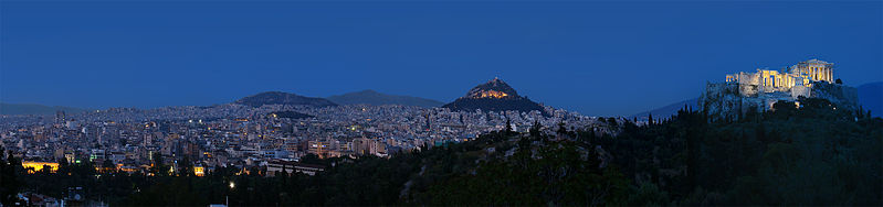 Panoramatic view of Athens by night