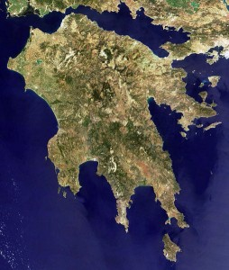Satelite photo of Peloponnese, Greece