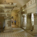 The large columns on display in the museum of Epidaurus
