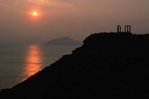 Sunset at Cap Sounion, Attica, Greece