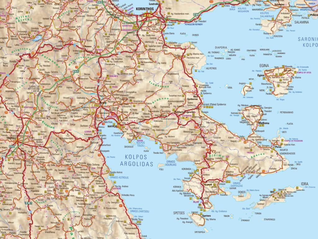 Map of Argolida in Peloponnese Greece