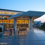 The Acropolis museum during sunset.