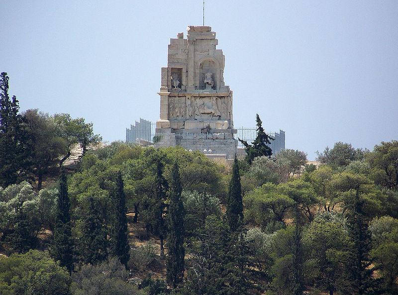 General view of the Philopappos Monument on top of Mouseion Hill, Athens, Greece
