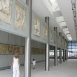 View of the Parthenon gallery of the museum. The sculptures shown are the these of the west pediment, the frieze and the metopes.