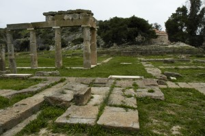 View of the platform of the temple, looking south across the stoa