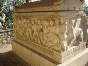 Marble sarcophagus with a relief about the hunt of the Calydonian boar on its main face (2nd century AC), in the Archaeological Museum of Eleusina.