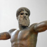 Bronze statue of deity, either Poseidon or Zeus, about to hurl (missing) bolt. Height: 2.1 m. ca. 460 BC. Found in shipwreck off Cape Artemisium. Athens National Archaeological Museum