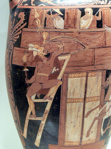 Scene from the Seven against Thebes: Capaneus scales the city wall of Thebes, Campanian red-figure amphora, ca. 340 BC, Getty Villa (92.AE.86)
