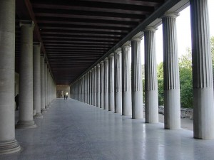 The inside of the restored Stoa of Attalos