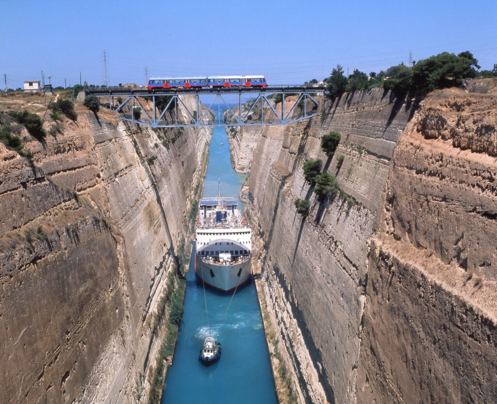 Corinth Channel, seen from the bridge above, Greece