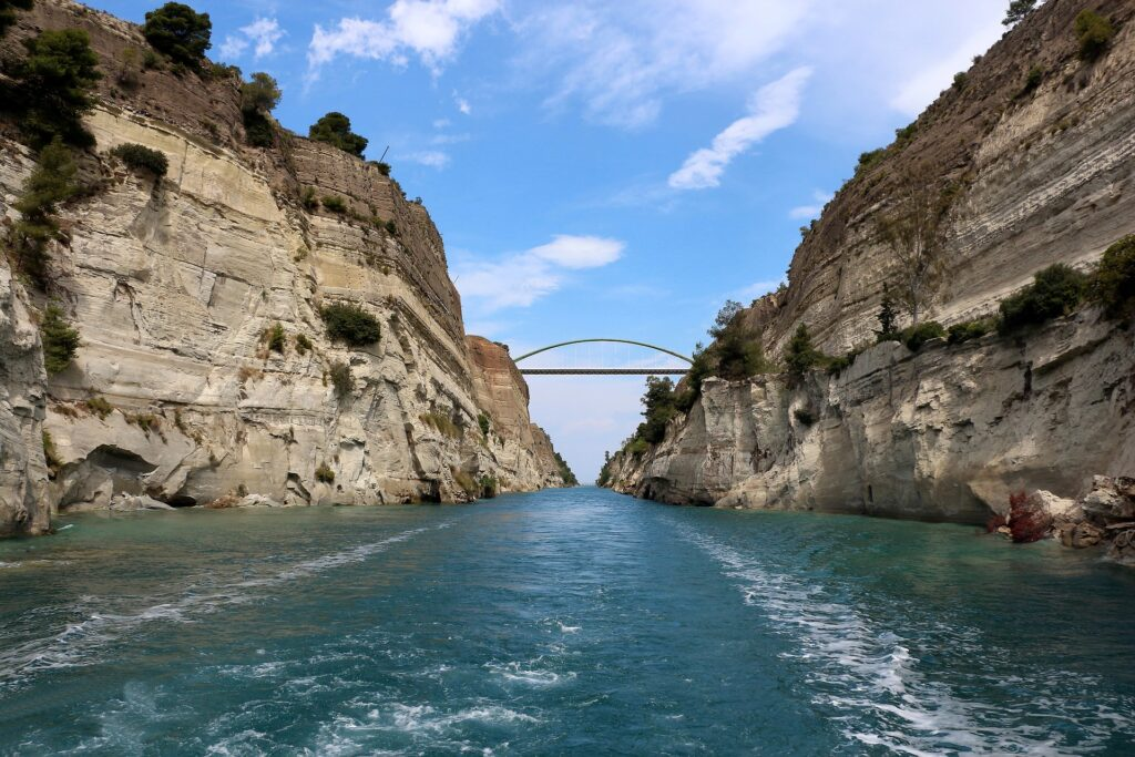 Corinth Channel, seen from below, Greece