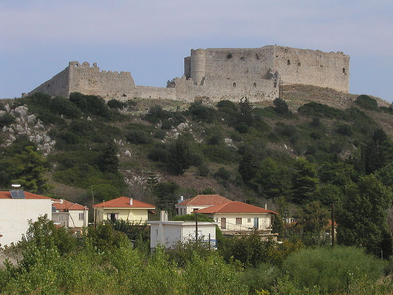 Chlemoutsi castle as seen from the village of Kastro, Peloponnese Greece