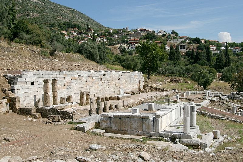 The klepsydra, or spring catchment, in Mavromati. Messene was downslope. Ithome looms in the background