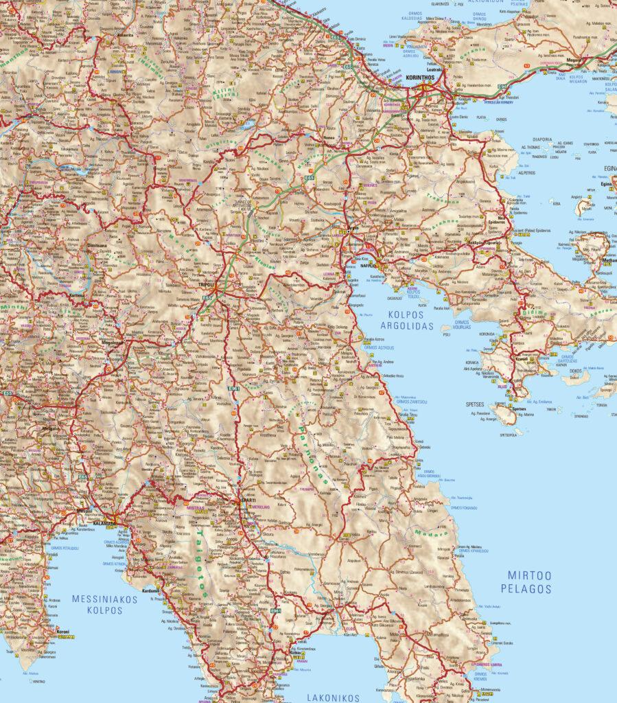 Map of Tripoli Arkadias in Peloponnese Greece