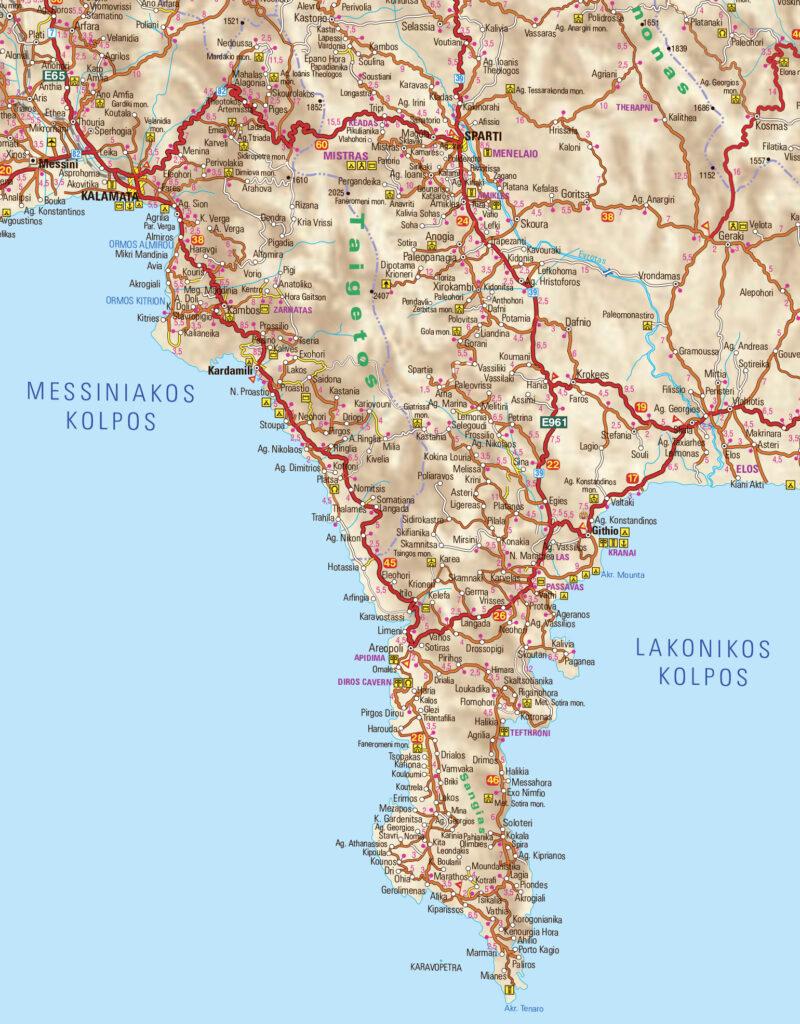 Map of Mani Peninsula in Peloponnese Greece