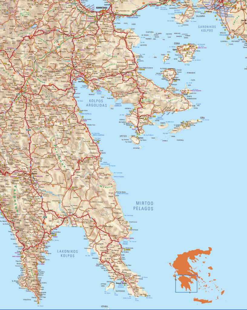 Map of Monemvasia and Mani in Peloponnese Greece