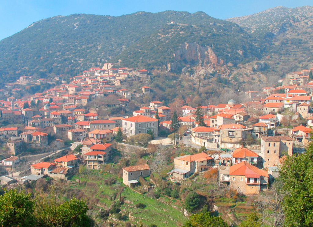 Village of Stemnitsa with traditional character, Arcadia, Peloponnese, Greece