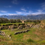 The theater of ancient Sparta with Mt. Taygetus in the background.