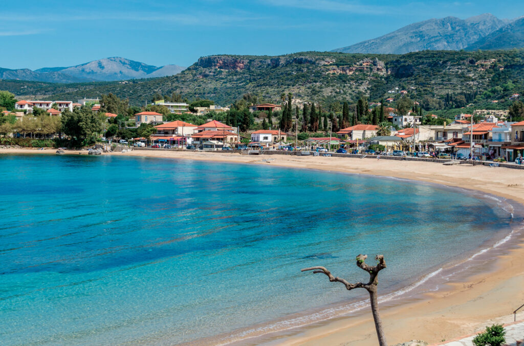 """Stoupa is a seaside village of Mani,located along two bays with sandy beaches.In the famous beach of Kalogria Nikos Kazantzakis was inspired and wrote the uniqe novel """"Life and Times of Alexis Zorbas"""""""