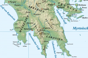 Taygetos mountain range, relief map