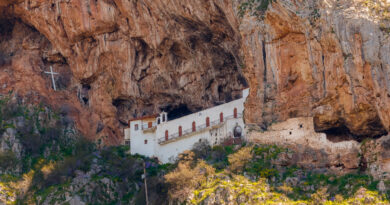 The monastery of Kandila near Tripoli in Greece, build under the shade of a rocky hill in Central Peloponnese Greece