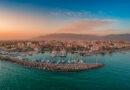 Aerial view of Kalamata marina at sunset, Messinia Greece