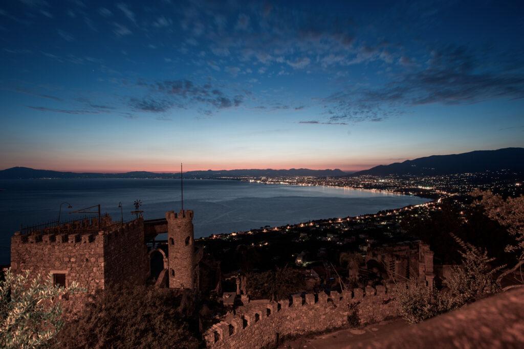 Above the castle of Kalamata at sunset, Messinia Greece