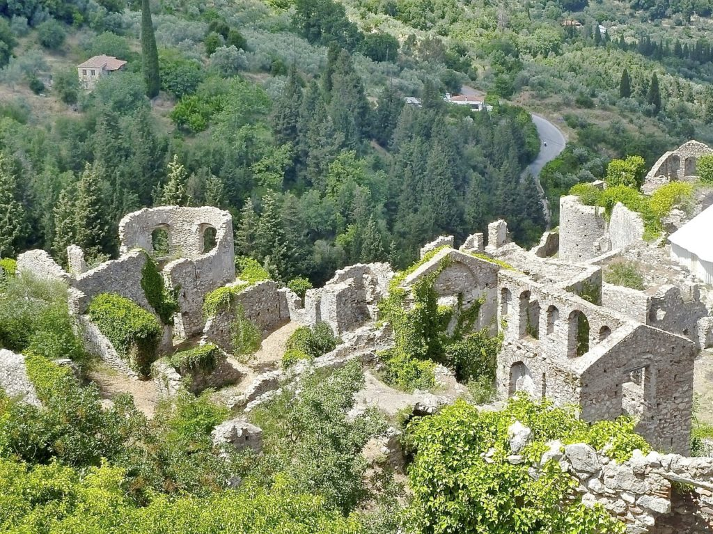 Ancient ruins of Mystras, Peleponnese, Greece