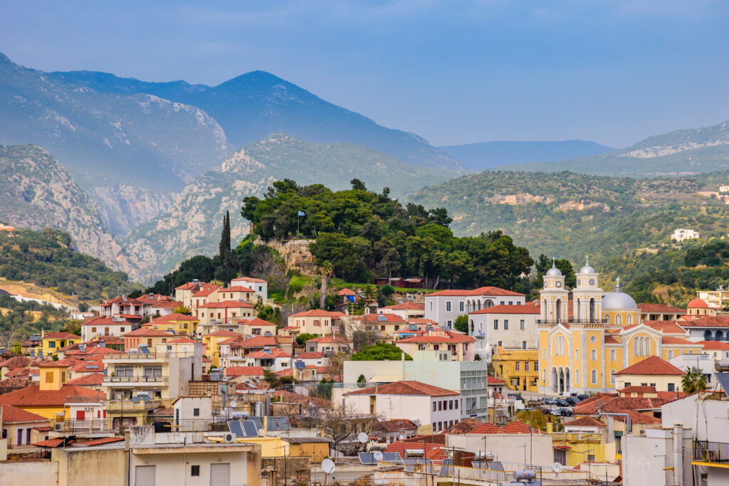 Panoramic view of the old town of Kalamata, Messinia, Peloponnese Greece
