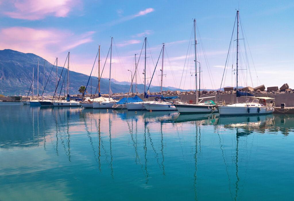 Sunset at Kalamata harbour, Peloponnese Greece