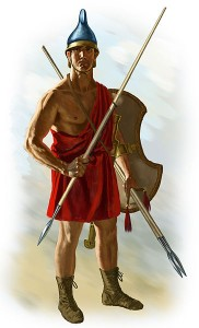 Agrianian peltast. This peltast holds three javelins, one in his throwing hand and two in his pelte hand as additional ammunition