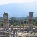Early Christian cathedral with temple ruins in foreground, Philippi, Greece