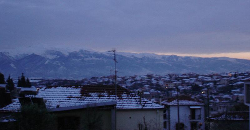 Alistrati village in wintersnow, Serres, Greece