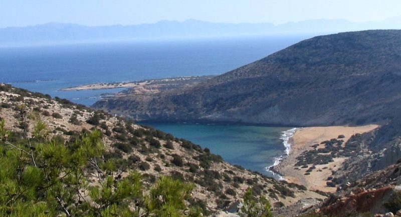 Gavdos, Potamos beach seen from Ambellos path