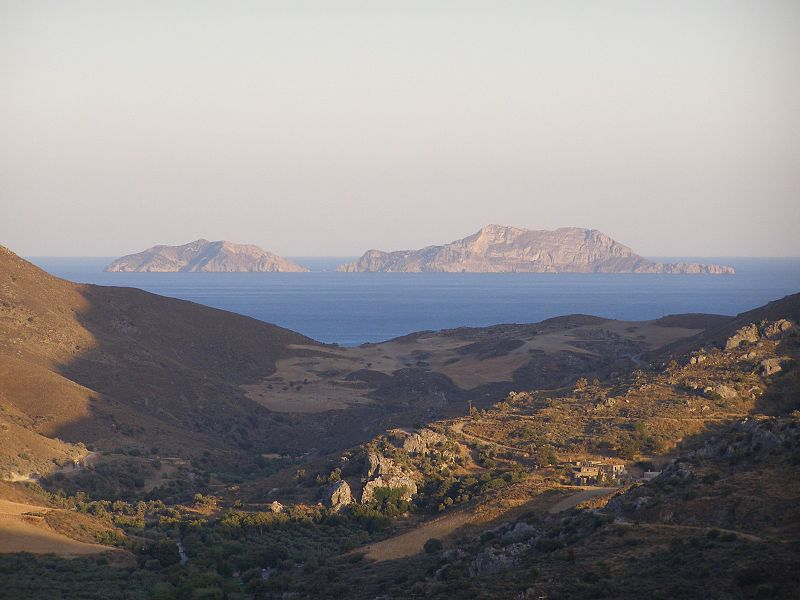 The Paximadia in the distance with the monastery of Preveli in the foreground